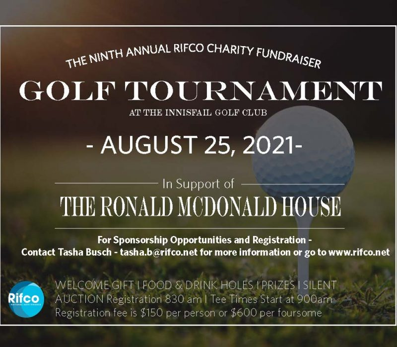 RIfco Charity Golf Tournament Save the Date AUG 2021